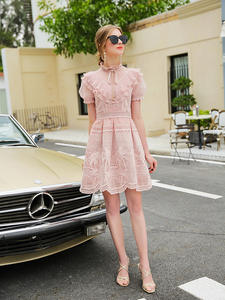 Moaayina Dress Spring Stand Short-Sleeve Mesh Fashion-Designer Summer Ruffles Collar