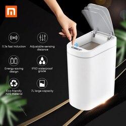 Xiaomi Mijia NINESTARS inteligente basura Sensor de movimiento Auto sellado LED de inducción cubierta basura 7L basura contenedores IPX3 impermeable