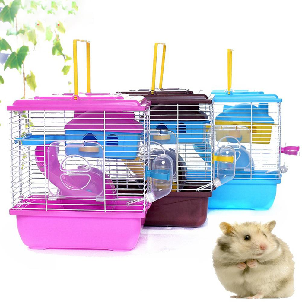 MeterMall Pet Cage Hamster Cottage With Transparent Skylight Double Layer House For Hamster Golden Hamster Pet