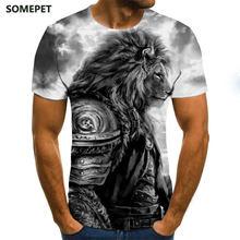 Новые летние футболки мужская футболка со львом с изображением