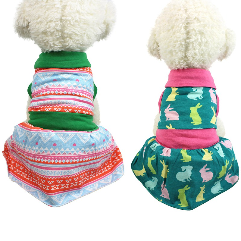 Cute Delicate Printed Style Summer Pet Dog Dresses Clothes For Spring Puppy Skirt XS-XL Z