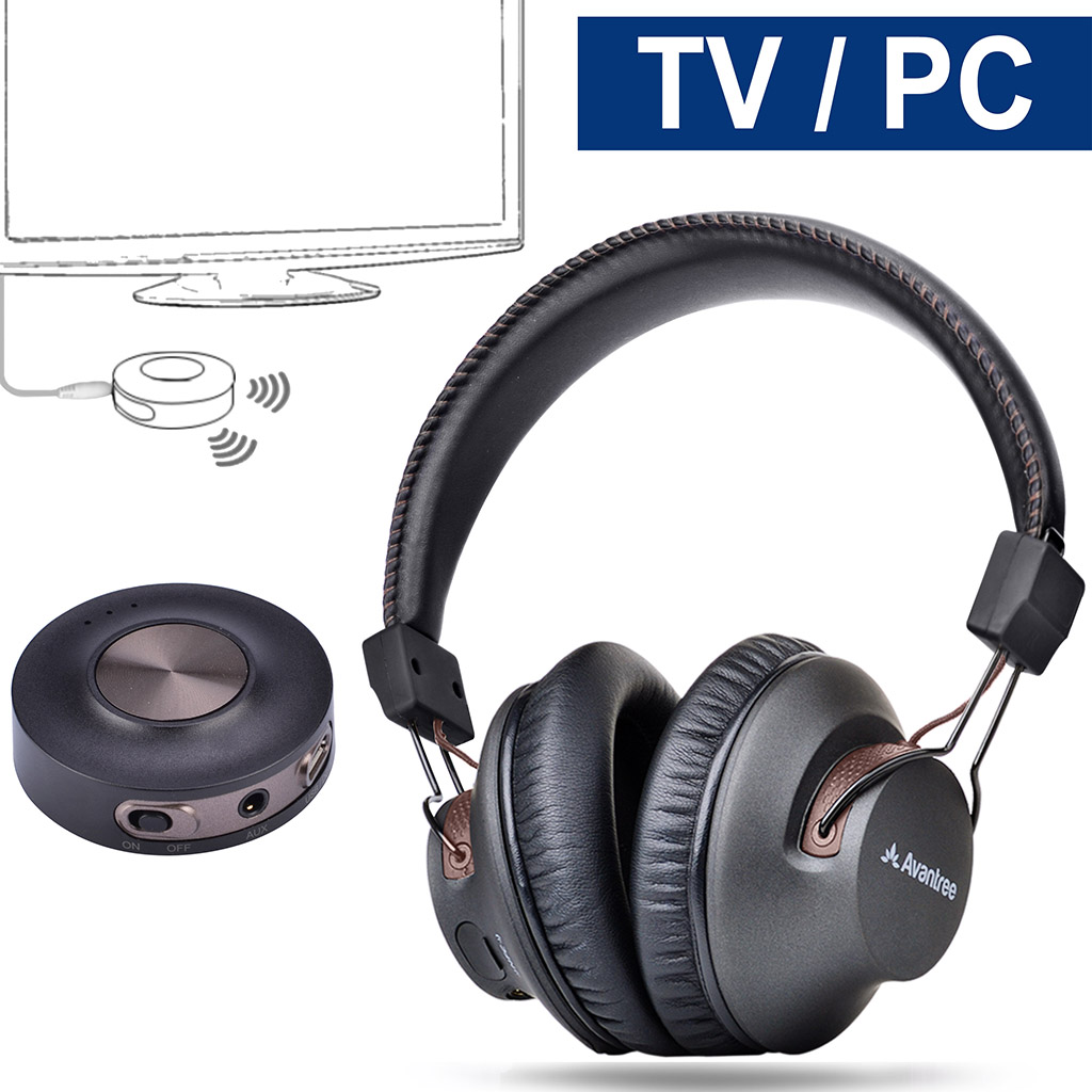 bluetooth headphones without delay - Avantree Wireless Headphones for TV with Bluetooth Transmitter SET, Plug & Play, No Lip Sync Delay, LONG RANGE, 40 Hours Battery