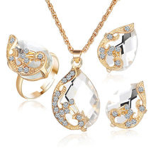 Fashion Crystal Waterdrop Jewelry Sets Bridal Jewelry Set For Women Gold Choker Necklace Earring Ring Wedding Decoration Gift xt qu gold color jewelry set austrian crystal big necklace and drop earring wedding jewelry sets for bridal free shipping