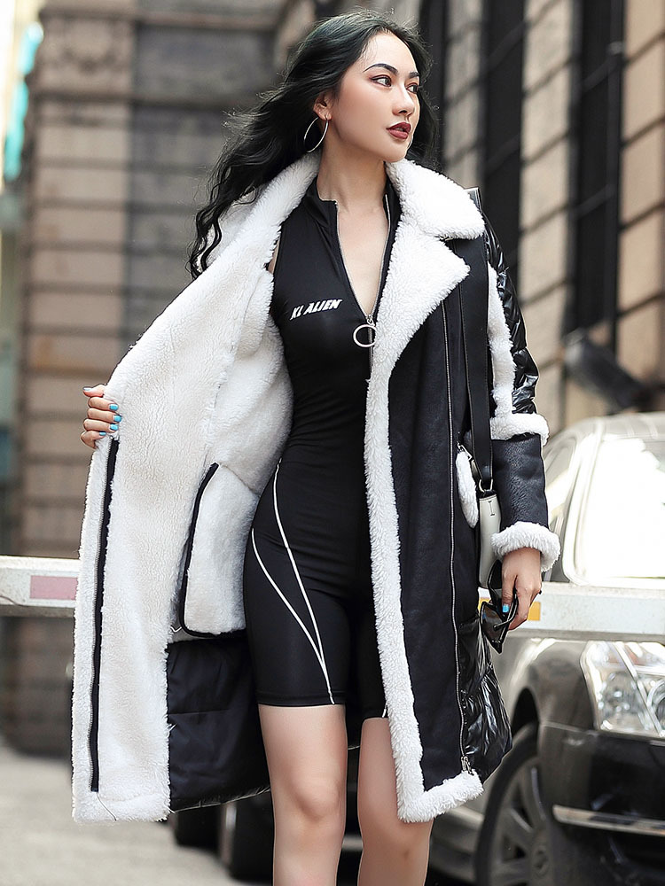 Real 2020 Fur Coat Winter Coat Women Sheep Shearling Puffer Down Jacket Women Long Real Wool Coats Manteau Femme MY4689 S