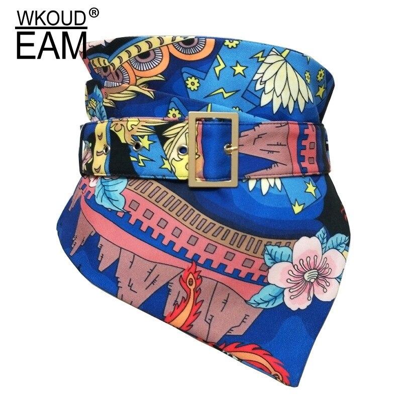 WKOUD EAM 2020 New Fashion Autumn Winter Wid Belt For Women Casual Tide Flower Print Adjustable Belt Korea Girdle Female ZJ929