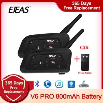 2pcs EJEAS V6 PRO Bluetooth Motorcycle Intercom Helmet Headset 6 Riders 1200m Communicator Interphone + Metal Splint