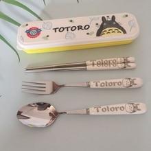 3pcs/set kawaii Portable stainless steel spoon birthday gift totoro  mixing tableware Miyazaki anime action figures cute cartoon