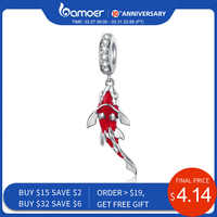 Bamoer esmalte peixe pingente 925 prata esterlina balançar charme ajuste pulseira colar feminino jóias finas bsc085