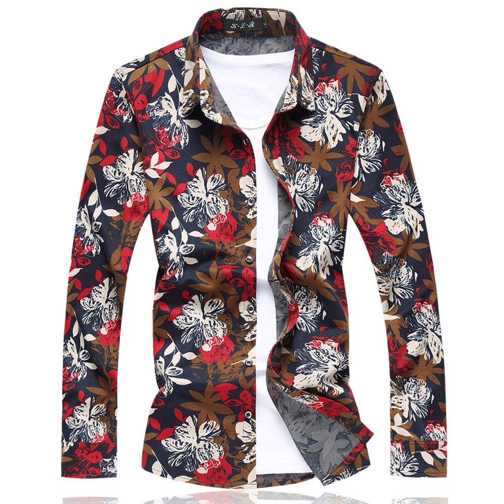 Men Shirt Summer Style Print Beach Hawaiian Shirt Man Slim Fit Casual Long Sleeve Hawaii Shirt Asian Size M-5XL 6XL 7XL