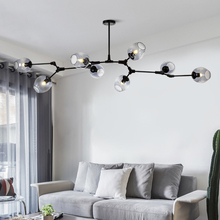 Modern LED Chandelier for Living Room Kitchen Loft Villa Glass Ball Nordic Hanging Pendant Lamp Bedroom Lighting Fixture Lustre