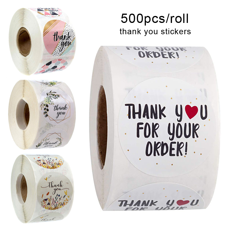 500Pcs/Roll  Thank You Stickers Handmade Sticker Circle Stationery thank you for your order Gift Seal Labels thank you sticker 4