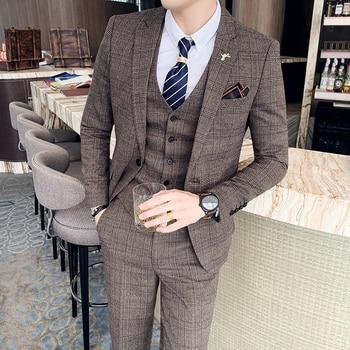 ( Jacket + Vest + Pants ) Boutique Fashion Mens Plaid Casual Business Suit High-end Social Formal Suit 3 Pcs Set Groom Wedding 1