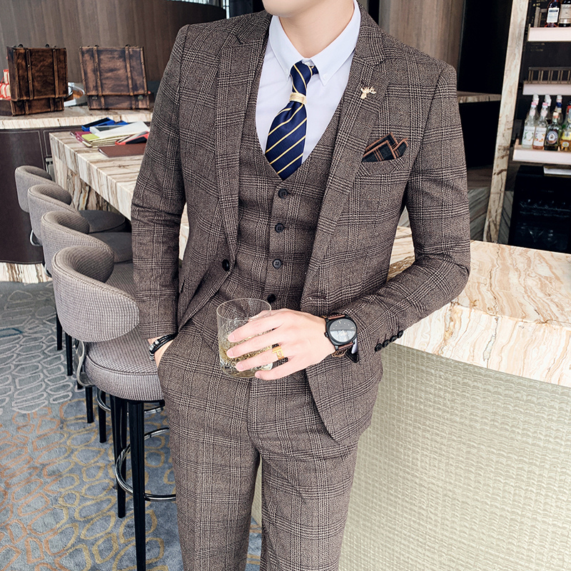 ( Jacket + Vest + Pants ) Boutique Fashion Mens Plaid Casual Business Suit High-end Social Formal Suit 3 Pcs Set Groom Wedding