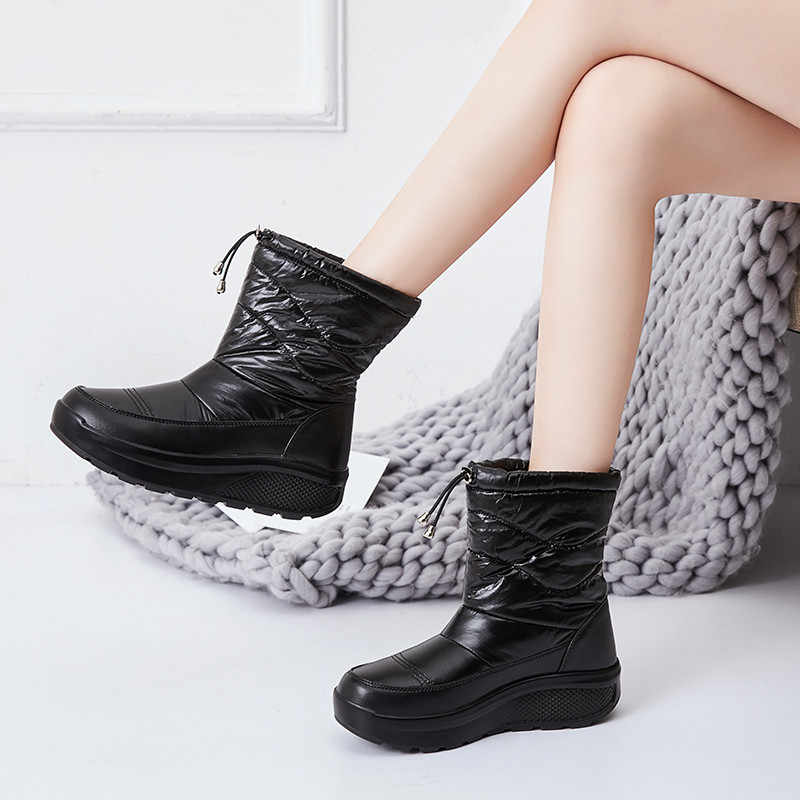 PINSEN 2020 yeni kadın kış botları yüksek kaliteli rahat kar botları kadın Slip-on sıcak bayanlar tutmak tıknaz çizmeler botas mujer