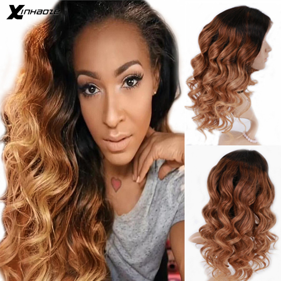 Ombre Blonde Glueless Human Hair Lace Front Wigs 150% Density Wavy 13x6 Brazilian Remy Hair Ombre Color With Dark Roots