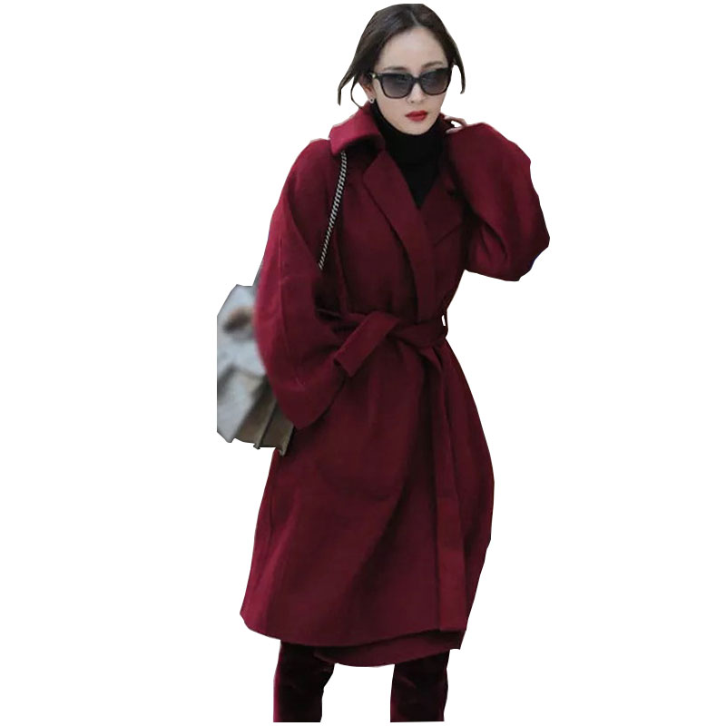 Women's handmade double-sided hand-stitched cashmere coat solid color over-the-knee wool coat