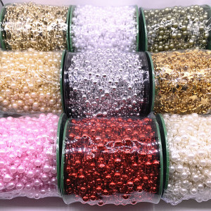5 Yards 3-8mm Fishing Line Artificial Pearls Flower Beads Chain Garland Flowers Wedding Party Decoration Diy Accessories