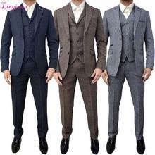 Linyixun коричневый серый твидовый мужской костюм классические зимние мужские свадебные костюмы 3 шт обтягивающий официальный костюм мужской смокинг, костюмы жениха Tern