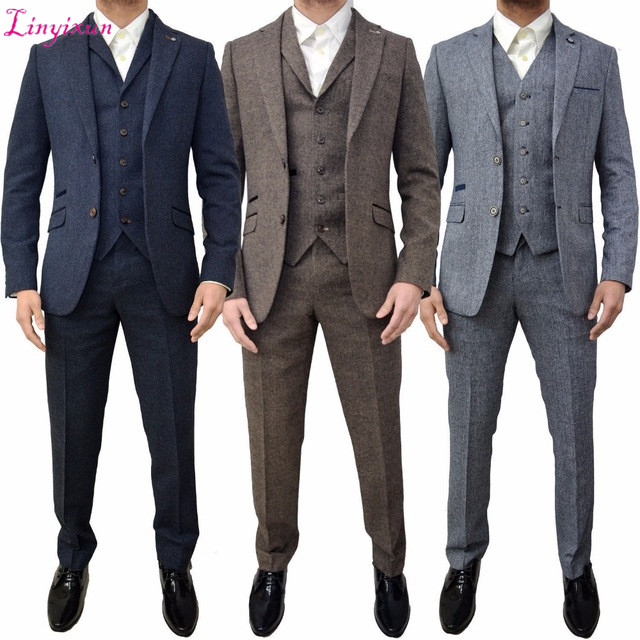 Linyixun Brown Grey Tweed Men Suit Classic Winter Men Suits For Wedding 3 Piece Slim Fit Formal Suit Men Tuxedo Groom Suits Tern