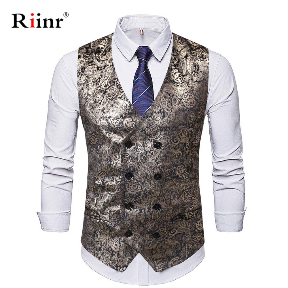Riinr Mens Fahsion Paisley Jacquard Woven Golden Folral Silk Waistcoat Vests Male England Style Casual Vests