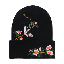 Winfox Fashion Embroidery Knitted Cap Black Bird Floral Beanie Caps gorros mujer invierno Skullies Warm Winter Hats For Women winfox new animal warm knitted winter hats for women gorros mujer invierno skullies bonnet unisex beanie cap dropshipping