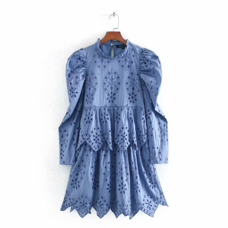 2020 women pleated puff sleeve cascading ruffles solid casual mini dress elegant lady hollow out embroidery chic dresses DS3483