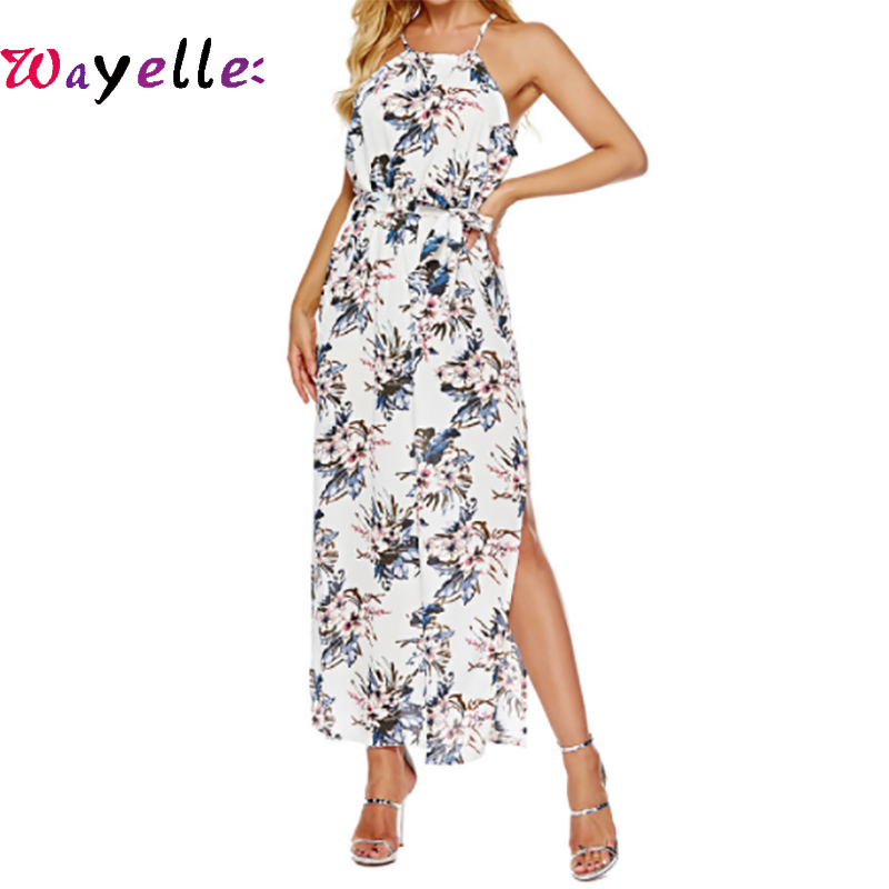 2019 Female Dress Summer Beach Style Long Dress For Women Elegant Sexy Night Club Halter Neck Bodycon Boho Women Dresses in Dresses from Women 39 s Clothing