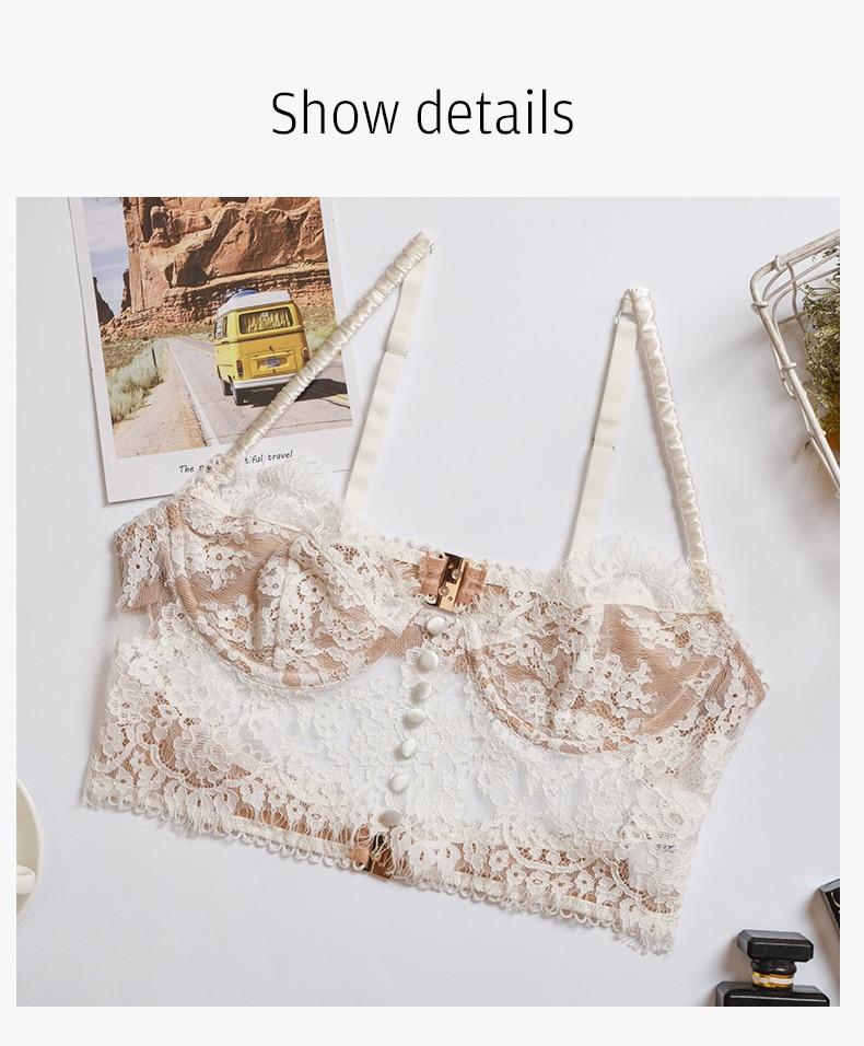 H8243e887495e479aa52b32498685c5a4L Sexy Lingerie French Women's underwear Mesh Cutout Lace Flower Embroidery Bralette Bra Comfort Push up Eyelash Female Underwear