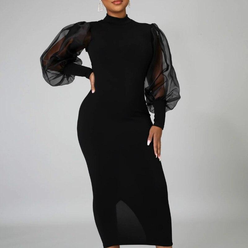 Siyah Bodycon kadın elbise Patchwork örgü uzun fener kollu yarık orta uzunlukta ince elbiseler 2021 zarif moda kadın Vestidos