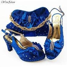 Итальянские женские туфли 8,5 см и сумка, подходящие к комплекту, ярко голубой цвет, фотоаксессуары для вечерние, 38 43