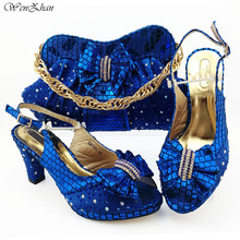 Italian Women Shoes 8.5cm And Bag To Match Set Royal blue Color Nigerian High Heels Party Shoes And Bag Set 38 43 B98 5