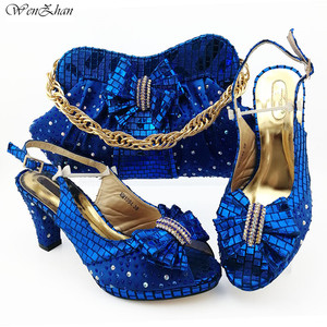 Image 1 - Italian Women Shoes 8.5cm And Bag To Match Set Royal blue Color Nigerian High Heels Party Shoes And Bag Set 38 43 B98 5