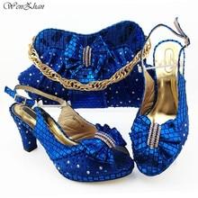Zapatos italianos para mujer 8,5 cm y bolsa para combinar con el conjunto de zapatos y bolsos de fiesta de Color azul real nigeriano tacones altos conjunto de 38 43 B98 5