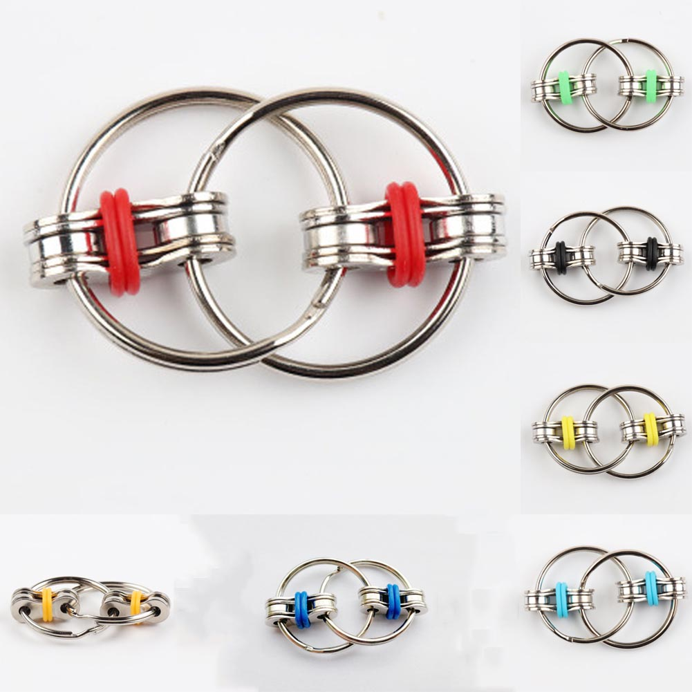 Bicycle Chain Fidget Metal Hand Spinner Key Ring Sensory Toy Stress Relieve BEST