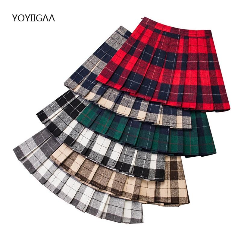 Girls Plaid Skirts High Waist Pleated A-Line Students Mini Skirts Fashion Sweet