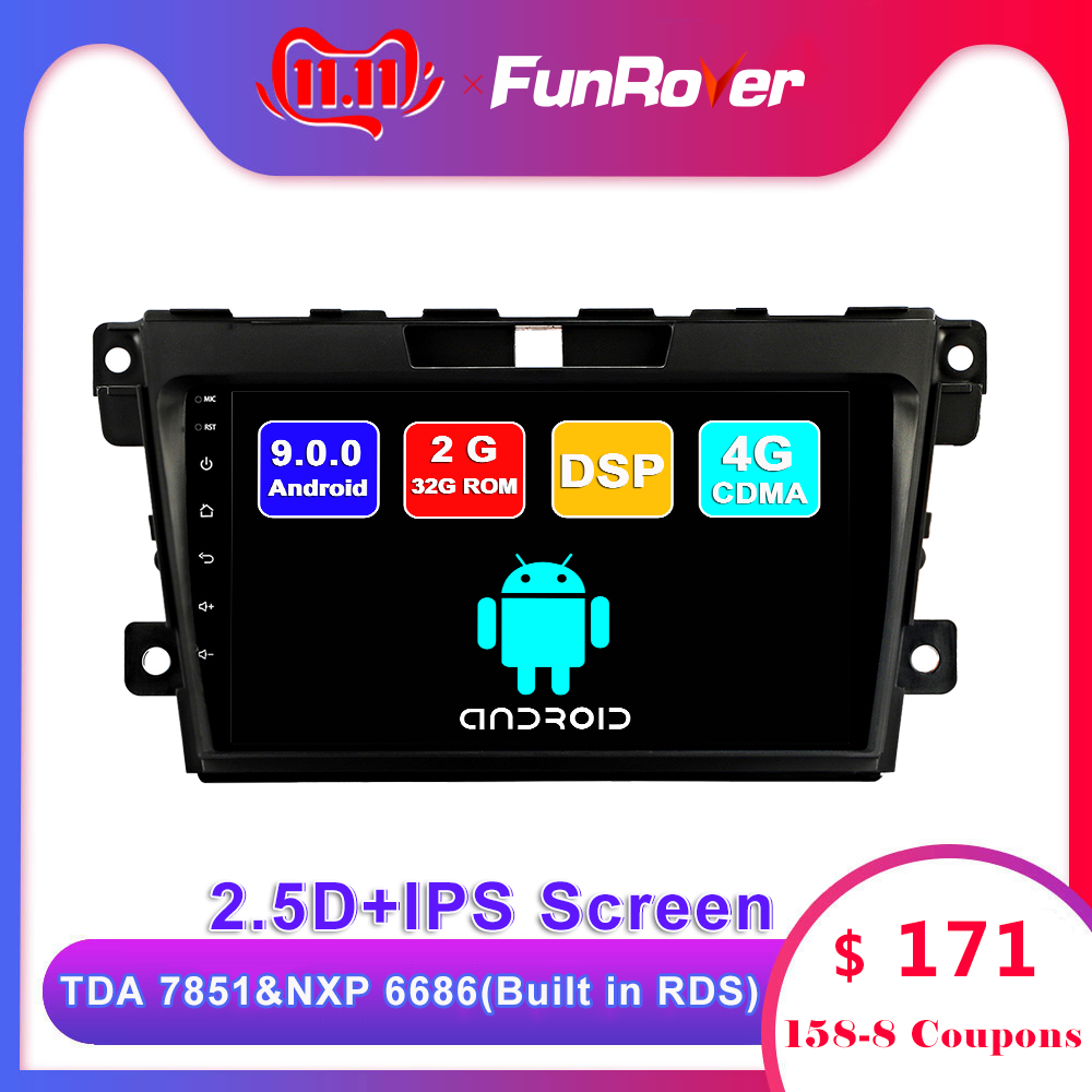 FUNROVER android <font><b>9</b></font>.0 2.5D+IPS car dvd multimedia player For <font><b>Mazda</b></font> CX7 <font><b>CX</b></font>-7 2008-2015 radio gps navigation stereos autoradio DSP image