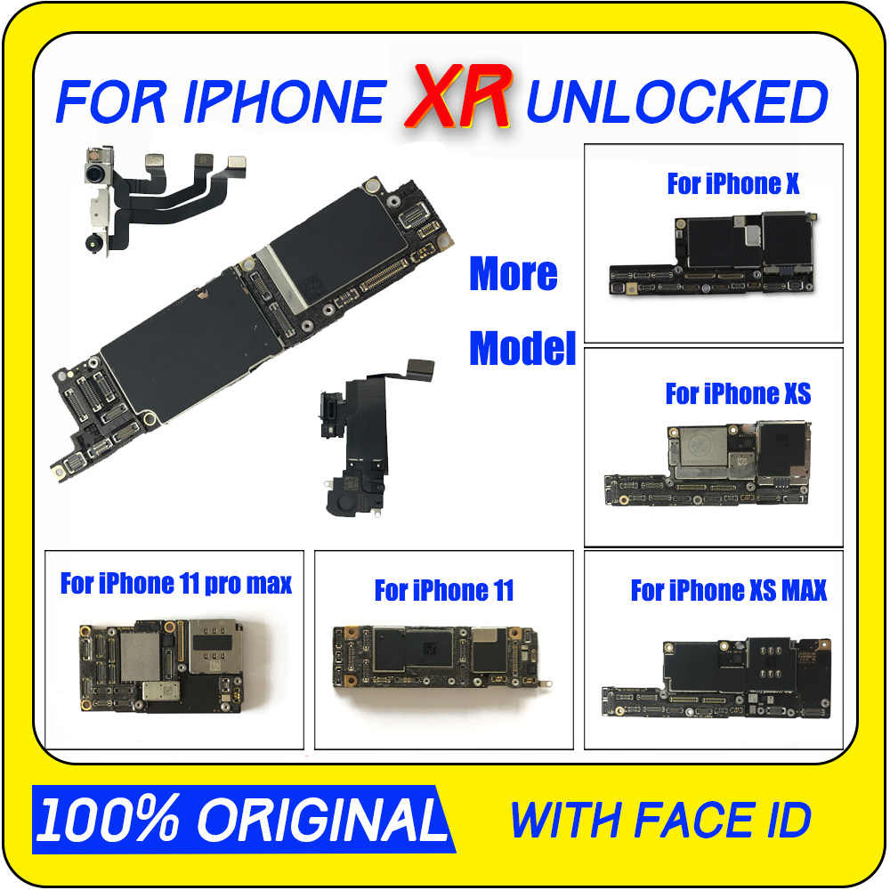 Placa-mãe desbloqueada, placa principal para iphone xr xs x xs max sem face id iphone 11 pro max