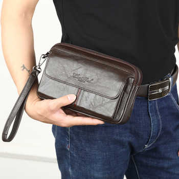 Men's Clutch Bags for men Genuine Leather Hand Bag Male Long Money Wallets Mobile Phone Pouch Women Party Clutch Coin Purse 2018 - DISCOUNT ITEM  40% OFF All Category