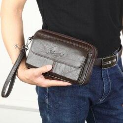 Sacos de embreagem masculinos para homens bolsa de mão de couro genuíno masculino longo dinheiro carteiras do telefone móvel bolsa feminina festa embreagem moeda bolsa 2018
