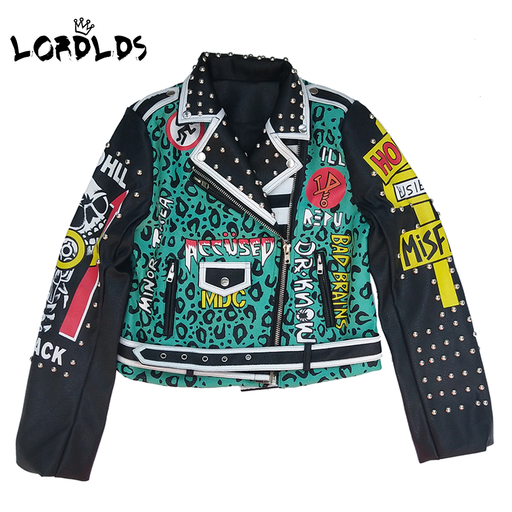 LORDLDS Punk Jacket Coats Streetwear-Queen Green Woman New And Letter for Hip-Hop