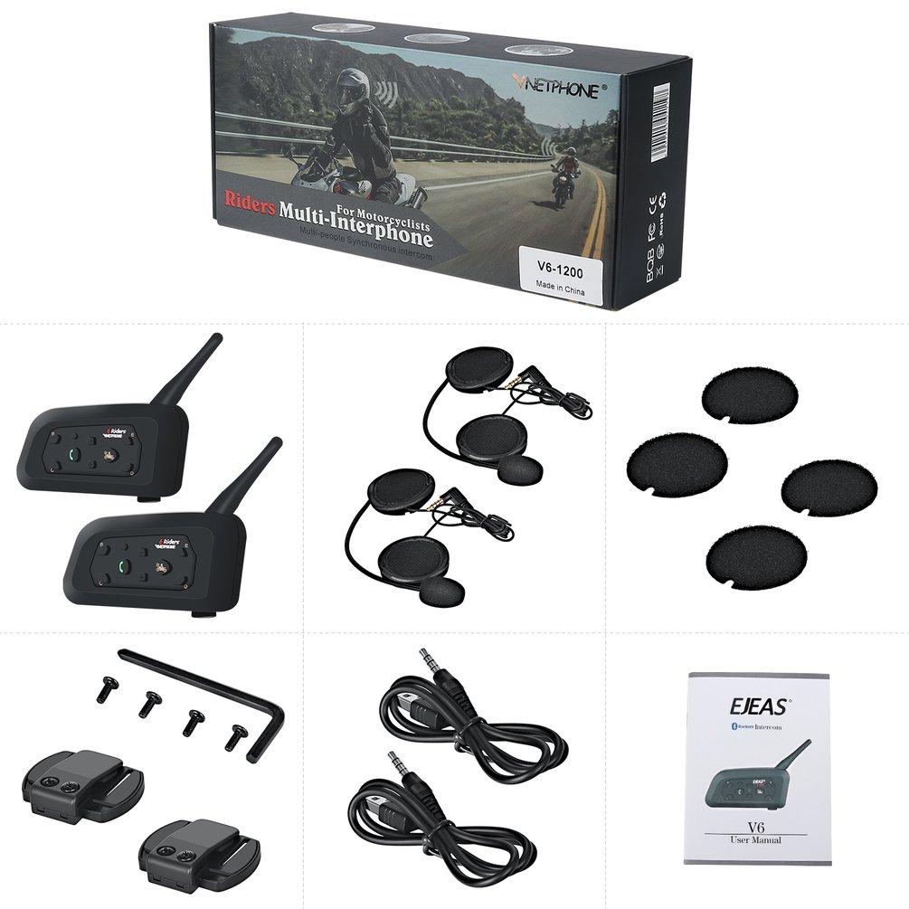 2 pièces casque Moto talkie-walkie 1200 M Duplex équitation talkie-walkie V6Pro 1200 M pour casque Moto interphone casque