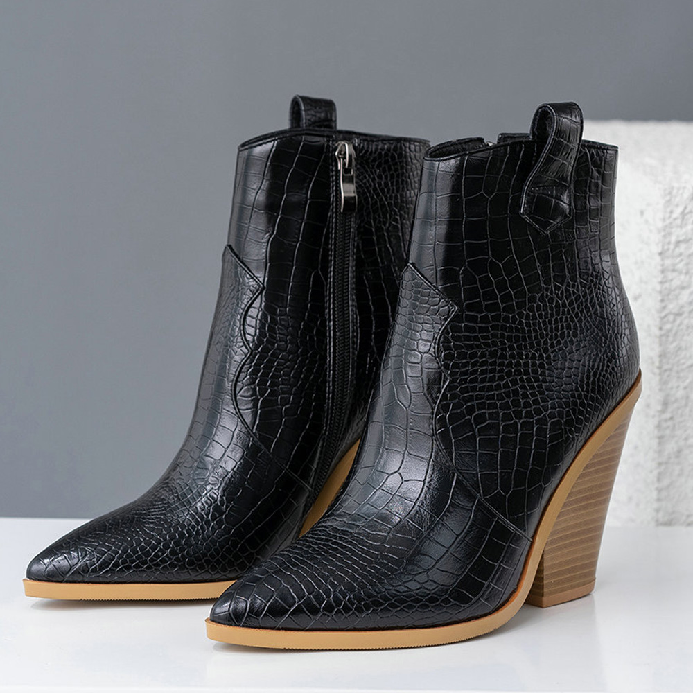 CXJYWMJL Ankle Boots Women PU Leather Wedges High Heels Western Boots Pointed Toe Zipper Fashion Short Boots Woman Shoes 6857