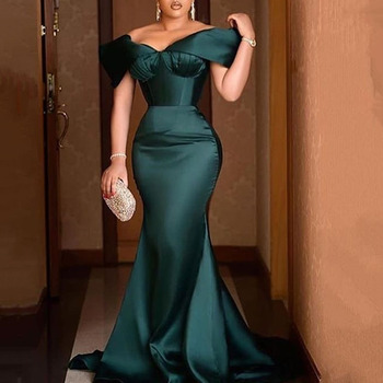 Elegant Dinner Party Dress Sexy Off Shoulder Ruffled Mermaid Long Robe Femme African Plus Size Pleated Wedding Formal Gown