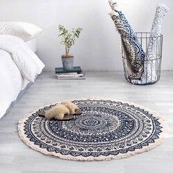 Maroko okrągły dywan sypialnia styl boho Tassel bawełniany dywan ręcznie tkany narodowy klasyczny gobelin poduszka na sofę Tatami maty podłogowe w Dywany od Dom i ogród na