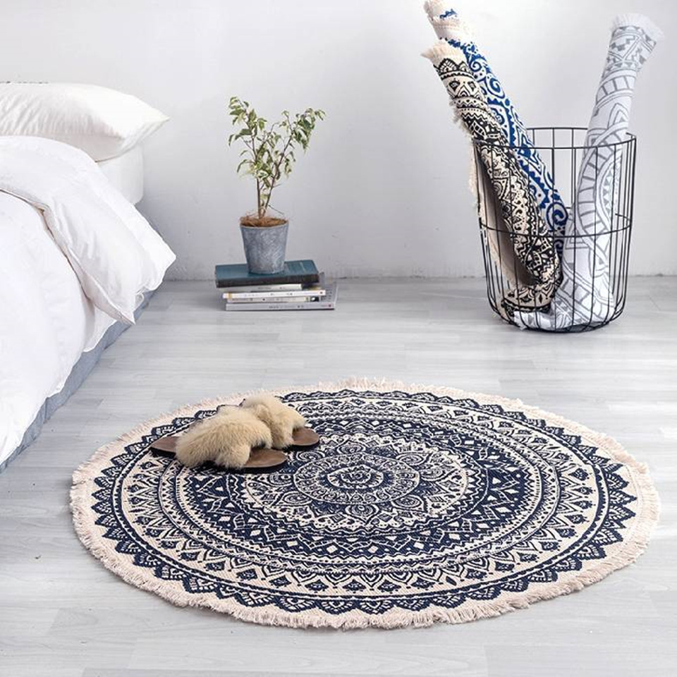 Morocco Round Carpet Bedroom Boho Style Tassel Cotton Rug Hand Woven National Classic Tapestry Sofa Cushion Tatami Floor Mats