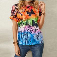 Women's Summer Printed Butterfly T Shirt Fashion Casual Round Neck Plus Size Female Short Sleeve Tops S-3XL