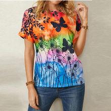 Verão feminino impresso borboleta t camisa moda casual em torno do pescoço plus size feminino manga curta topos S-3XL