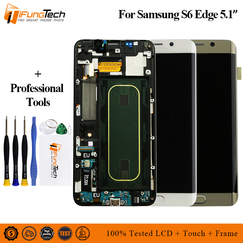 5.1For Samsung Galaxy S6 Edge LCD G925 G925F SM-G925F Display Touch Screen Digitizer Assembly with frame For SAMSUNG S6 Edge LCD image