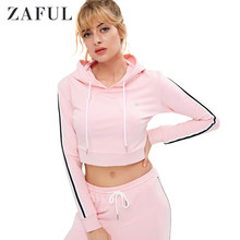 ZAFUL Striped Side Crop Hoodie Drawstring Women Hoodie With FashionTrend Slim Sweat Shir Striped Pink Hooded Pullover For Ladies(China)
