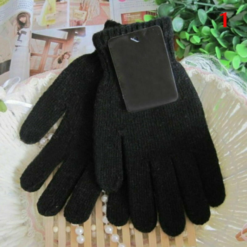2019 Hot Sale Ladies Men's Thick Knitted Acrylic Gloves Winter Warm Fashion Solid Thermal Gloves Mittens Accessories 2 Colors